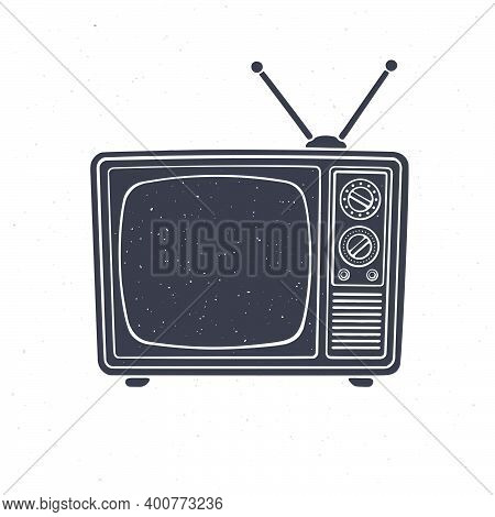 Silhouette Of Analogue Retro Tv With Antenna, Channel And Signal Selector. Vector Illustration. Tele