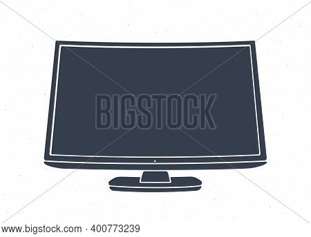 Silhouette Of Modern Digital Smart Tv With Full Ultra Hd Display. Vector Illustration. Television Bo