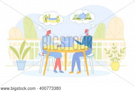 Senior People Sitting At Table Searching Traveling Tour On Laptop. Aged Couple Active Lifestyle On P