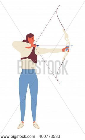 Young Woman Training Archery With Bow Shooting Arrows. Concept Sport Character In Static Pose Ready