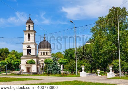 Central District Of Chisinau Moldova . Cathedral And Steeple In Central Park Of Chisinau . Capital C