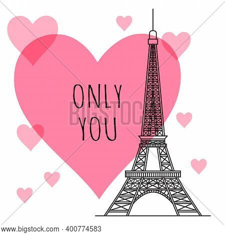 The Silhouette Of The Eiffel Tower On The Background Of Pink Hearts. Valentines Day Greeting Card. V