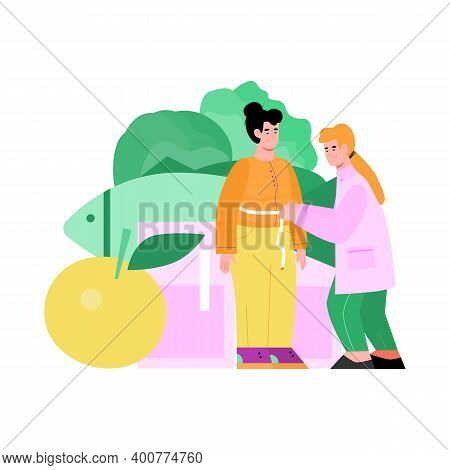 Nutritionist Doctor Examines A Female Patient, Measuring Her Waist. Girl With Excess Weight Consulta