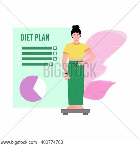 Diet Plan Banner Design With Slimming Woman Standing On Weight Scales, Cartoon Vector Illustration I