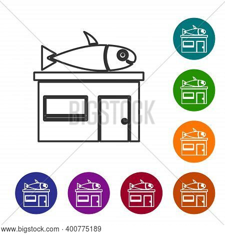 Black Line Seafood Store Icon Isolated On White Background. Facade Of Seafood Market. Set Icons In C