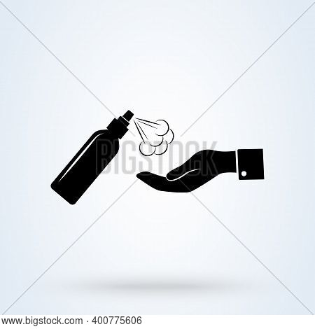 Cleaning A Hand With Alcohol Spray Icon Or Logo. Alcohol Spray Concept.  Sanitizer Dispenser, Infect