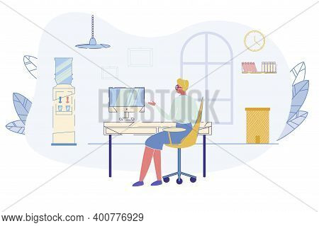 Senior Elegant Woman Sitting At Desk With Pc In Office Interior With Water Cooler And Folders On She
