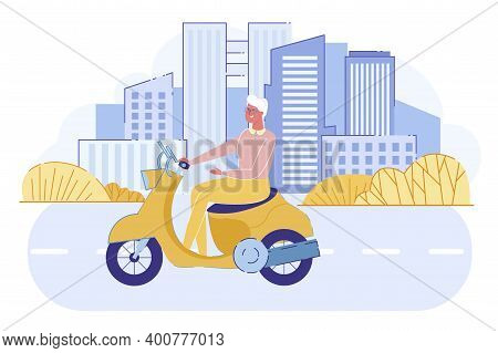 Cheerful Senior Lady Driving Vintage Scooter On Cityscape Background With Skyscrapers. Active Grandm