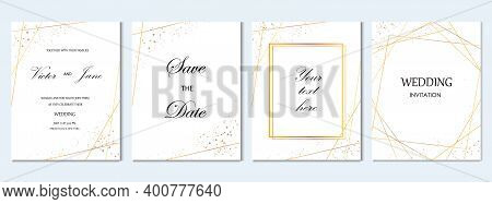 Wedding Invitation Cards With Gold Geometric Elements Vector Design Template.trendy Wedding Invitati
