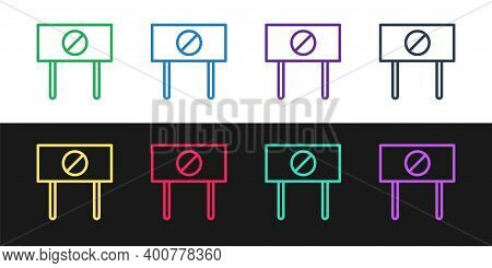 Set Line Protest Icon Isolated On Black And White Background. Meeting, Protester, Picket, Speech, Ba