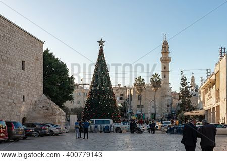 Bethlehem, Israel, December 09, 2020 : Christmas Tree Decorated For The Celebration Of Christmas In