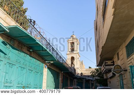 Bethlehem, Israel, December 09, 2020 : View From The Street To The Bell Tower Of The Church Of Nativ