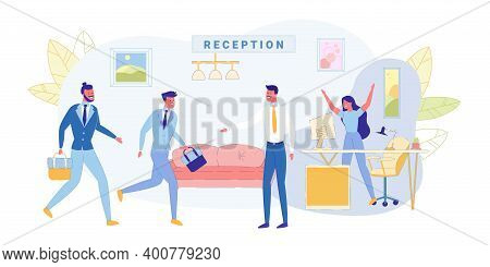 Meeting At Reception Business Company, Banner. Girl Secretary Jumped Up And Joyfully Raised Her Hand