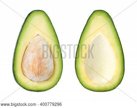 Raw Avocado Cutaway Isolated On White Background
