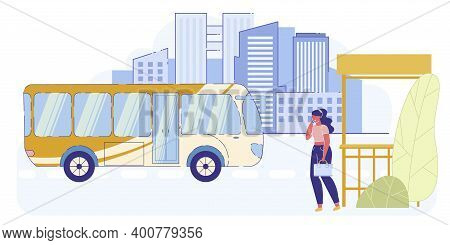 Young Stylish Woman Holding Suitcase Stand On Bus Stop Talking By Smartphone On Cityscape Background