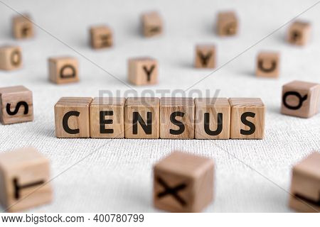 Census - Words From Wooden Blocks With Letters, Official Count Or Survey Of A Population, Census Con