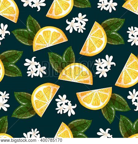 Seamless Tropical Background With Lemon Slices. Tropical Summer Fruits Seamless Pattern On A Dark Ba
