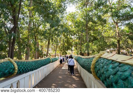 Udon Thani, Thailand-december 22, 2020: Buddhist People Respect Sacred Things At Kham Chanot Before