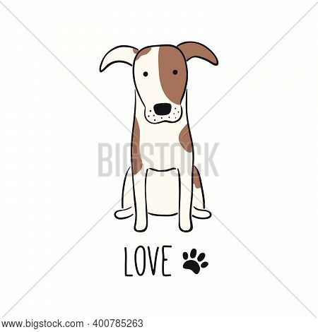 Cute Funny Fox Terrier Dog, Puppy, Quote Love, Paw Print. Hand Drawn Color Vector Illustration, Isol