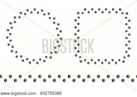 Dog, Puppy Paw Prints Round, Square Frame, With Copy Space, Seamless Border. Hand Drawn Black And Wh