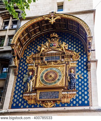 Conciergerie Clock (horloge) Which Are Located On The Building Palace Of Justice (palais De Justice)