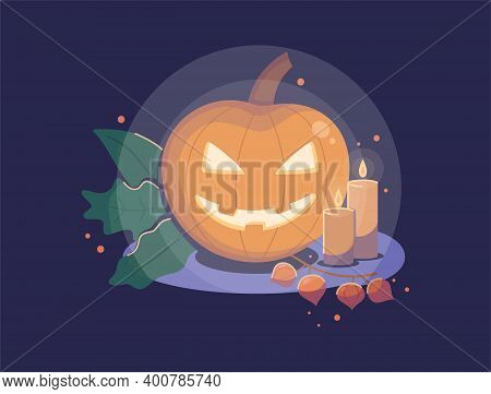 Composition With Pumpkin, Candles And Leaves On A Dark Background. Flat Vector Illustration For Your