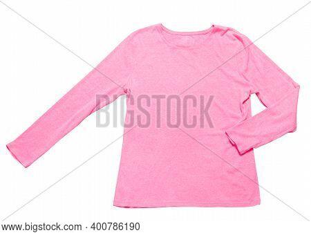 Pale Pink Pastel Sport Blank Sweatshirt Isolated On White, Pink Sweatshirt On A White Background