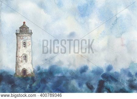 Lighthouse On The Background Of The Sky And The Sea Painted In Watercolor. Watercolor Drawing. Light
