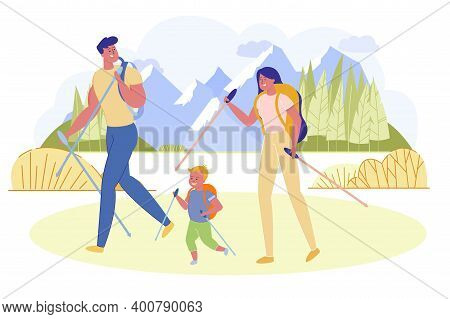 Informative Poster, Family Went Hiking Mountains. Parents And Their Child Spend Time Outdoors. Each