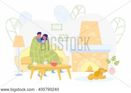 Advertising Banner, Guy And Girl On Date At Home. Couple Is Talking, Sitting On Couch And Wrapped Th