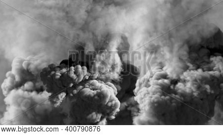 Vivid Background Of Heavy Smoke, Carbon Dioxide Concept - Abstract 3d Rendering