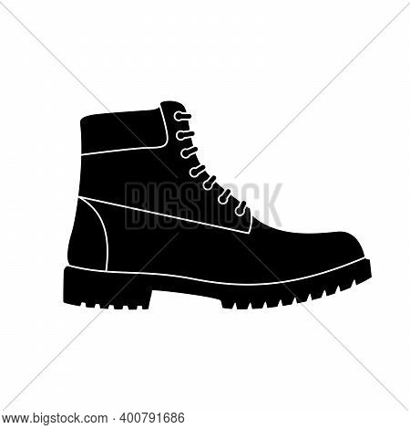 Boot Icon. Hiking Boots Icon. Vector Illustration. Black Shoe Symbol On White Background.