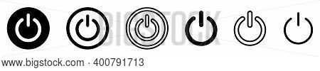 On-off Icon. Set Of Power Buttons. Vector Illustration. Black Shut Down Symbol On White Background.