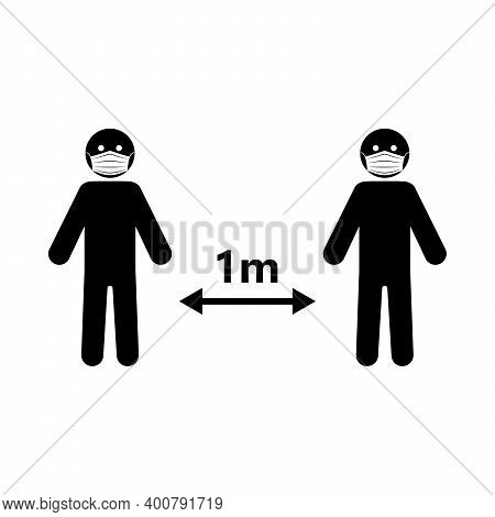Social Distance Icon. Social Distance 1 Meter. Vector Illustration. Keep A Safe Distance