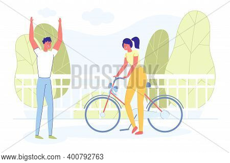 Bright Banner, Couple Met For Presenting Gift. Girl Brought Her Groom Bicycle With Gift Bow. Guy Thr