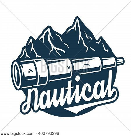 Marine Optic Spyglass And Rock. Nautical Explore