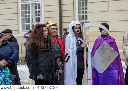 Nativity Scene Students, Lviv, Ukraine January 7, 2019, Young Students In Christmas Costumes Perform