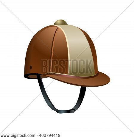 The Classic Jockey Helmet For The Equestrian Athlete. Illustration Isolated On White Background. Vec