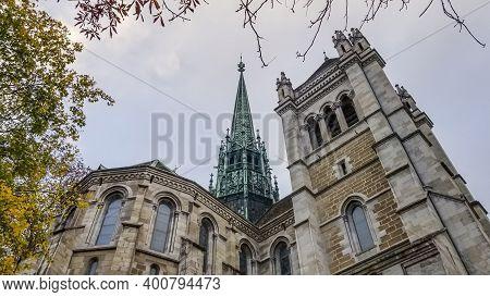 Saint-pierre Cathedral In Geneva In Autumn, Switzerland, Hdr
