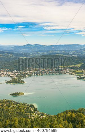 Panorama Of Lake And Mountains At Worthersee Carinthia Austria. View From Pyramidenkogel Tower On La