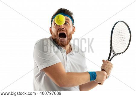Danger. Highly Tensioned Game. Funny Emotions Of Professional Tennis Player Isolated On White Studio