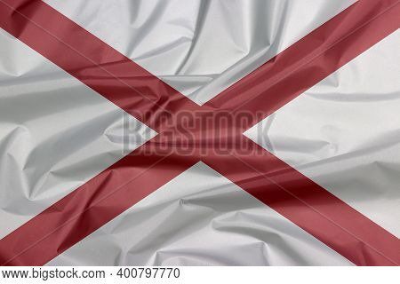 Fabric Flag Of Alabama. Crease Of Alabama Flag Background, The States Of America,  Red St. Andrew's