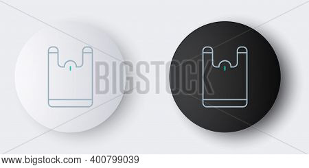 Line Plastic Bag Icon Isolated On Grey Background. Disposable Cellophane And Polythene Package Prohi