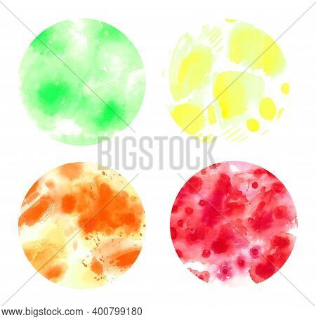 Watercolor Abstract Circle Texture Set Of Multicolored Rainbow Splashes, Elements For Retro Design,