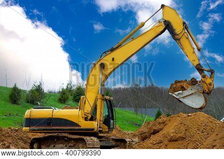Excavator At Sandpit During Earthmoving Works Mover