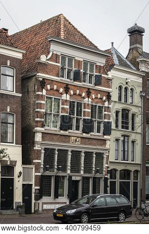Gouda, Netherlands, November 2018 - A Leaning Building Facade In The City Of Gouda, Netherlands