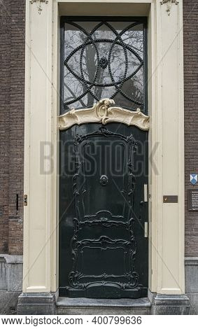 Gouda, Netherlands, November 2018 - View Of An Ornate Door In The City Of Gouda, Netherlands