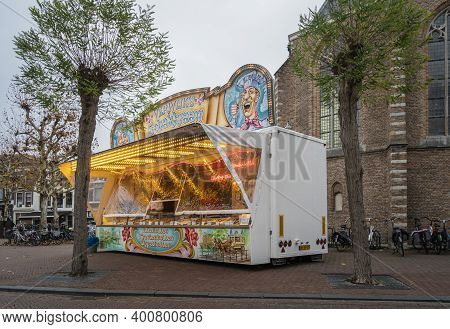 Gouda, Netherlands, November 2018 - A Food Stall Selling Traditional Dutch Delicacies In The City Of