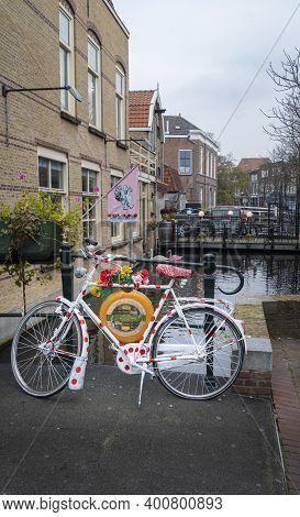 Gouda, Netherlands, November 2018 - A Decorated Bicycle In The City Of Gouda, Netherlands