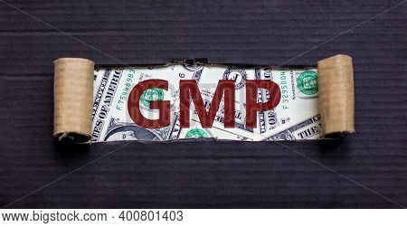 Gmp Symbol. The Word 'gmp - Good Manufacturing Practice' Appearing Behind Torn Black Paper. Beautifu